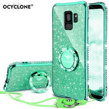 Luxury Cute For Samsung Galaxy S9 Case Cover 360 Degree Ring Kickstand Silicone Diamond Bling Glitter Soft Cover for Samsung 9