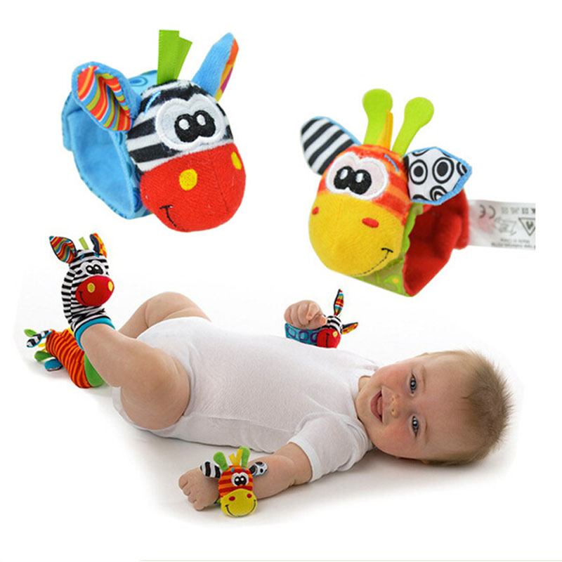 2pcs waist or 2pcs socks Infant Baby Kids Sock rattle toys Wrist Rattle and Foot Socks 0~24 Months G0120