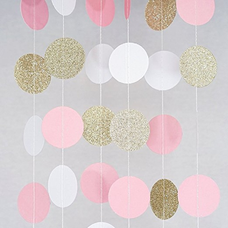 3M Pink White Multicolor Sparkle Round Circle Paper Garland Flora String Wedding Birthday Baby Shower Party Decoration Supplies