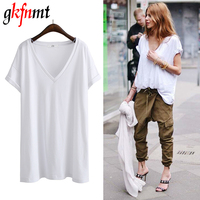 Gkfnmt Summer T Shirt Women 2017 Sexy V Neck Solid Color Tops Short Sleeves New Loose