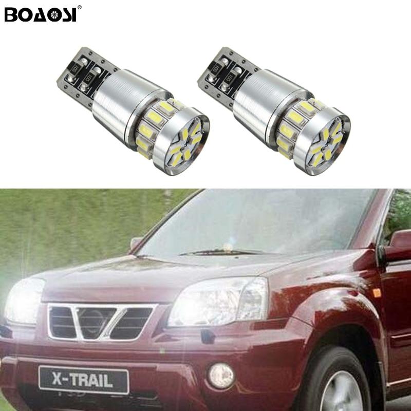 BOAOSI 2x T10 LED W5W LED Car LED Auto Lamp Clearance Light Parking For Nissan qashqai tiida new teana SYLPHY note almera juke