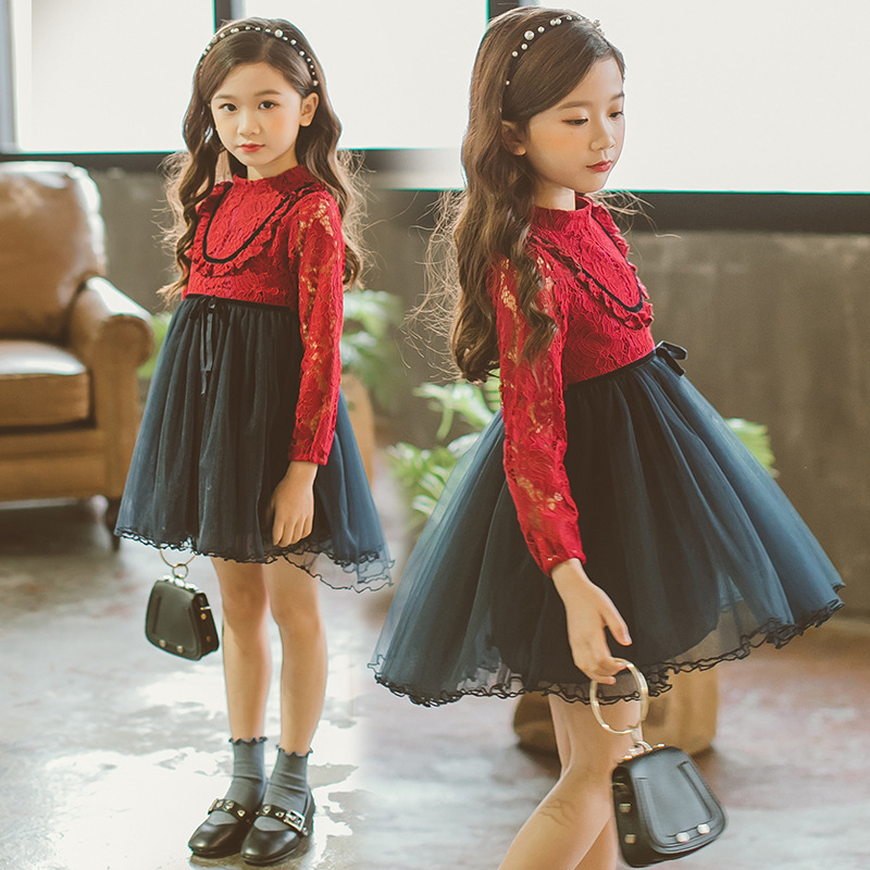 Kids Girls Tutu Lace Dress 2018 Spring New Girls Party Dress Kids Elegant Gowns Long Sleeve Wedding Dress Girls Princess Dress batwing sleeve pocket side curved hem textured dress