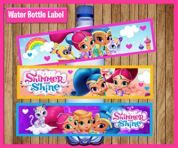 Shimmer And Shine Bottle Water Labels Party Wrappers Baby Shower Birthday