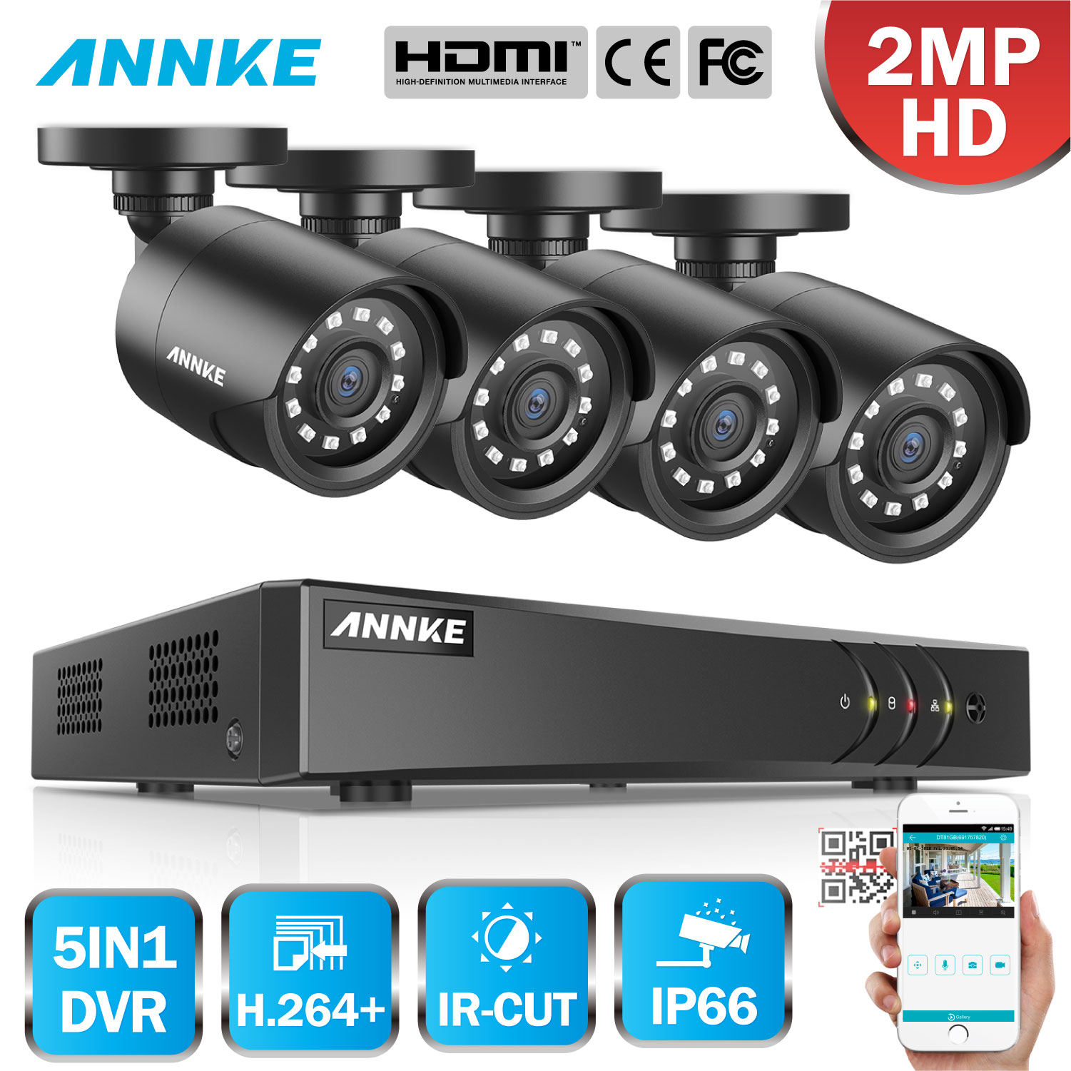 ANNKE 4CH 1080P Security Video CCTV System 5in1 1080N H.264+ DVR With 4X HD TVI Smart IR Bullet Weatherproof Surveillance Camera
