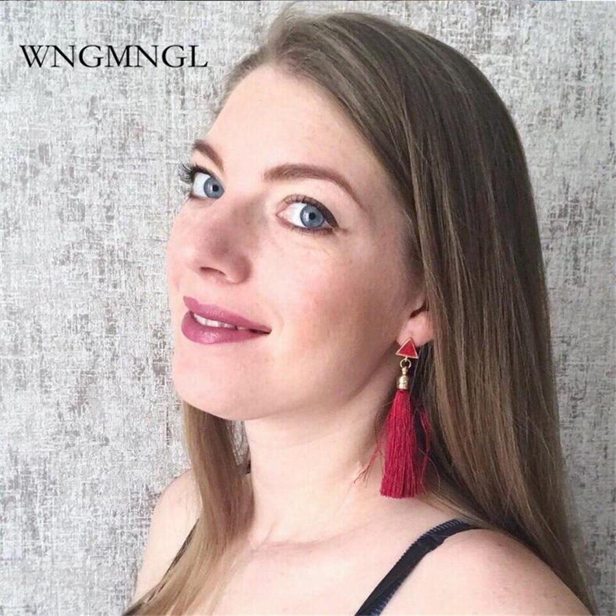 WNGMNGL New Bohemia Luxury Rhinestone Tassel Earrings for Women 2018 Wedding Party Charm Elegant Crystal Fashion Jewelry Gift