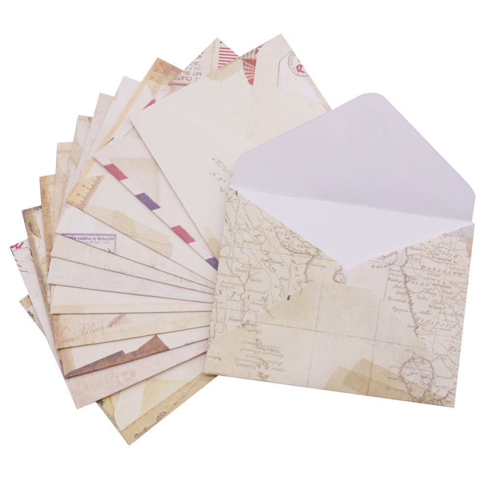 12 Pcs 96*72mm Vintage Small Mini Kraft Paper Window Envelopes Wedding Invitation Envelope Gift Envelope Card Message Package