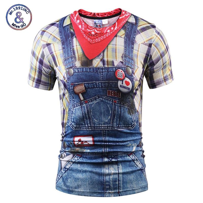 Mr.1991INC Hot Sale Funny T-shirt Men/Women Summer Tops Tees 3d Print Fake Jeans T shirt fashion 3d Tees Shirts