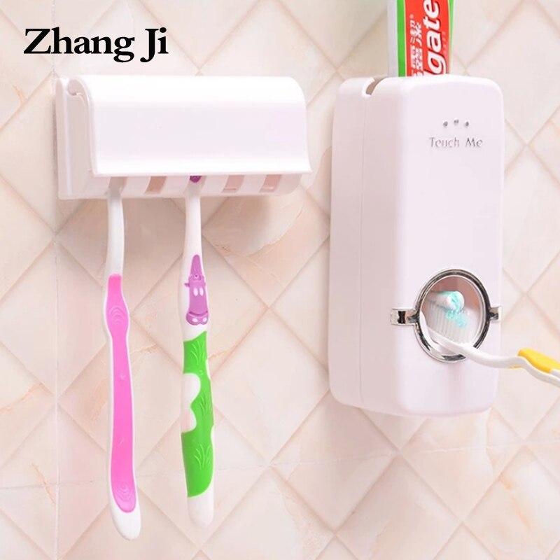 Zhangji titular de cepillo de dientes pasta de dientes dispensador automático montaje en pared soporte de baño exprimidor de pasta conjunto