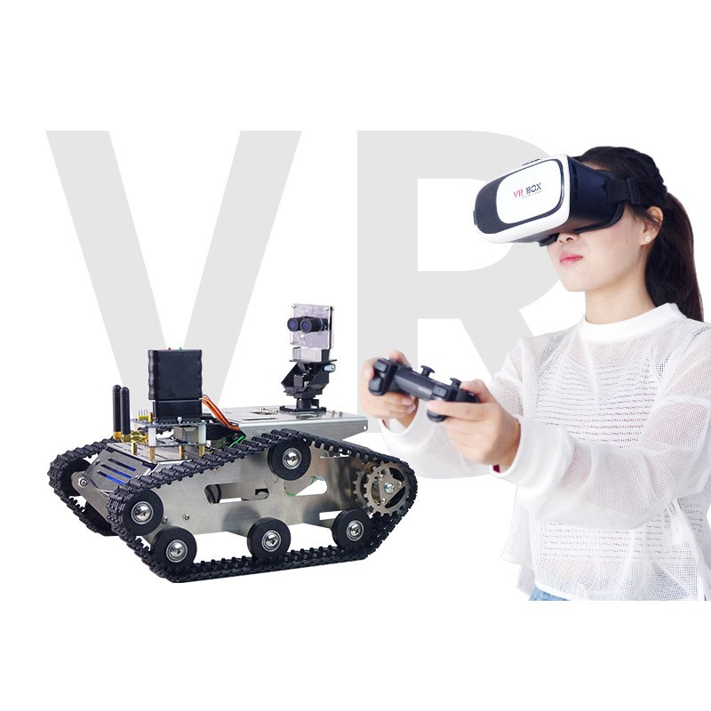 2018 NEW DIY + VC BOX + PS2 Controller WIFI Video RC Car with 3D CCD Camera VR Video Tank Robot