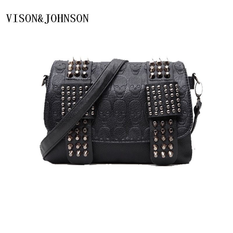 VISON&JOHNSON Luxury Handbag Women Bag Designer Women's Bag Rivet Chain Messenger Shoulder Bags Female Skull Clutch Famous Brand 2017 luxury handbags black women bags designer women s bag rivet chain messenger shoulder bags female skull clutch famous brand