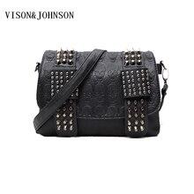 VISON & JOHNSON Luxus Handtasche Frauen Tasche Designer frauen Tasche Niete Kette Umhängetaschen Messenger Weiblichen Schädel Kupplung Berühmte marke