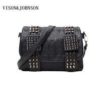 Garni Luxury Handbags Women Bag Designer Skull Clutch Bag Rivet Chain Messenger Shoulder Bags Female Famous