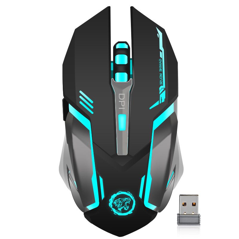 Oppladbart Wireless Gaming Mouse 7-fargelys Bakgrunnslys Puste Comfort Gamer Mus for PC-stasjonær bærbar PC for Pro Gamer