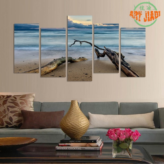 New 5 Piece/set Canvas Art 5 panels Tree Trunk Beachfront HD Canvas Paintings Decorations & New 5 Piece/set Canvas Art 5 panels Tree Trunk Beachfront HD Canvas ...