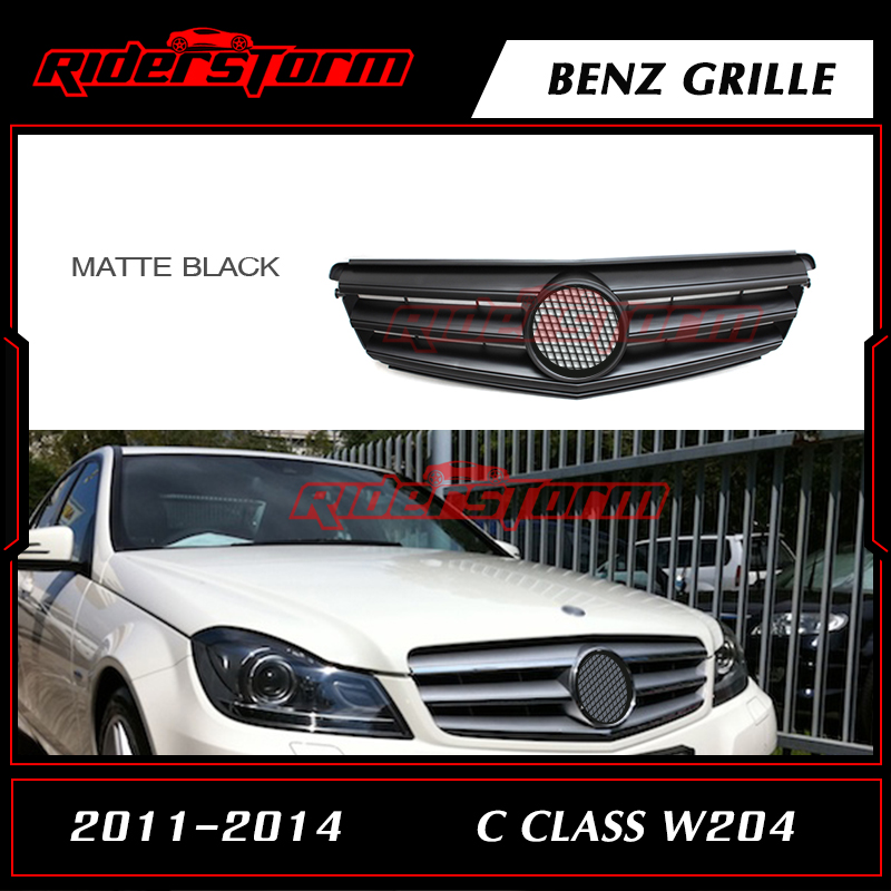 ABS Fashion Design Auto Replacement Front Center Grill Mesh Fit for Mercedes Benz C Class W204 C63 C180 C300 C250 2011-2014 pp class front car mesh grill sport style fit for benz w203 c 2000 2006