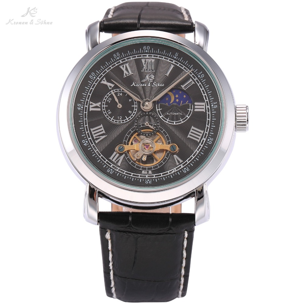 KS Brand New Navigator Series Automatic Mechanical Self Wind Watch Tourbillion Silver Dial Black Leather Strap