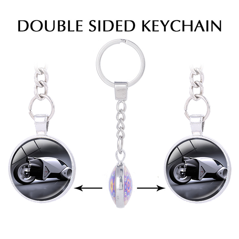 US $5 98 |Tron Legacy Laser Light Double sided Pendant keychain for keys  Movie jewelry motorcycle keychain personalized gift-in Key Chains from