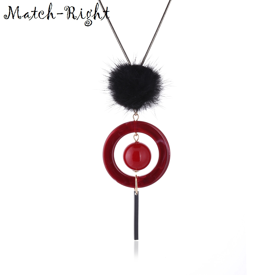 Match Right Women Trendy Maxi Necklaces & Pendants Statement Long Sweater  Necklace Fuzzy Balls Pendant for Women Jewelry SP232-in Pendant Necklaces