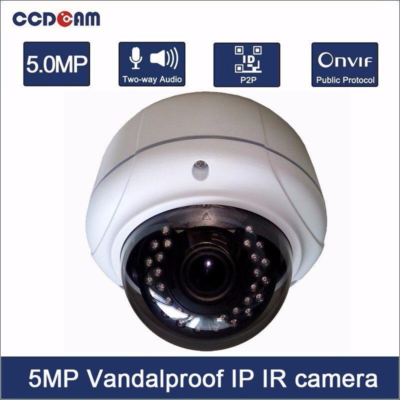 Caméra IP à dôme anti-vandalisme CCDCAM 5MP en temps réel H.265 prise en charge Audio bidirectionnelle