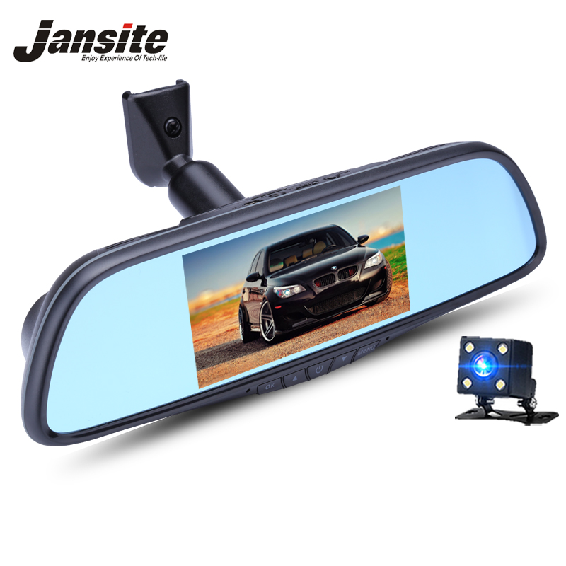 Jansite Car DVR Dual Lens Mirror Bracket installation Car Camera 1080P Night vision Video Recorder Rearview Mirror Dash Cam Auto цена