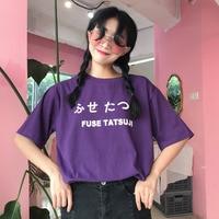 2018 Harajuku Streetwear Top Tee Women Summer Tees Cotton Simple Japanese Letter Short Sleeve Harajuku T