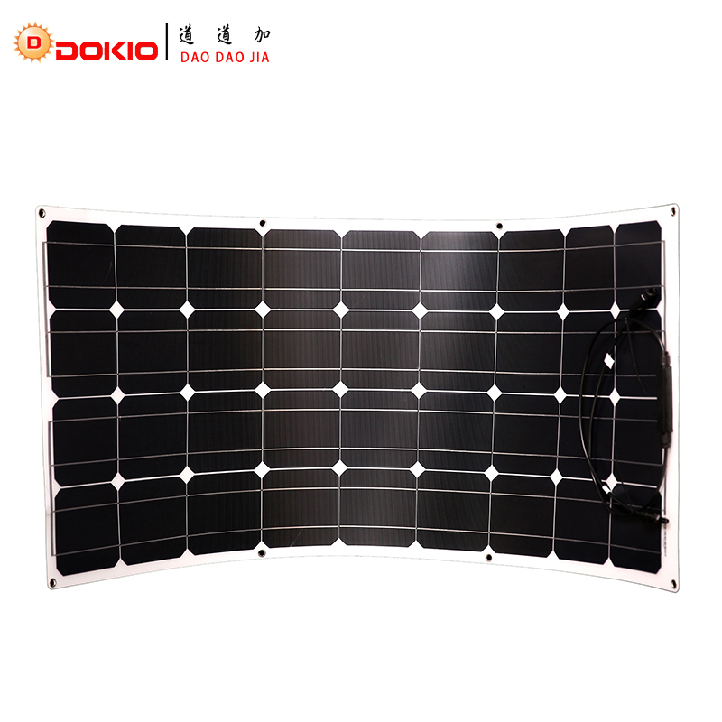Dokio Brand Solar Panel 100W Monocrystalline Solar Cell Flexible for Car/Yacht/Steamship 12V 24 Volt 100 Watt Solar Battery sp 36 120w 12v semi flexible monocrystalline solar panel waterproof high conversion efficiency for rv boat car 1 5m cable