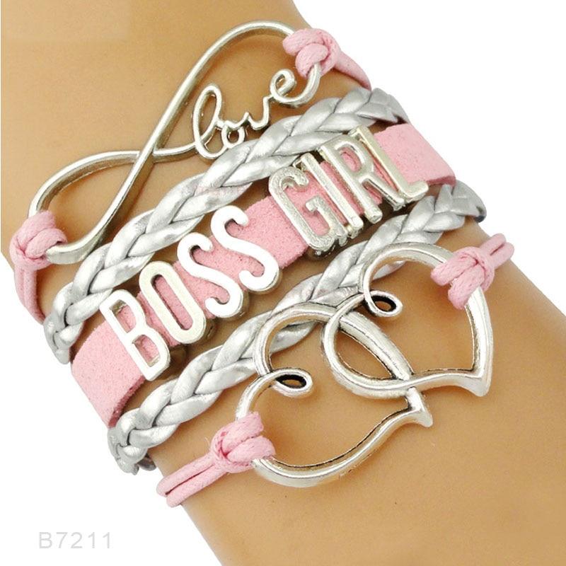Big Boss Girl Mom Mama Babe Fortune Prosperity Thrive Charm Bracelets Women Blue Pink Handmade Jewelry Gift Many Styles Choose