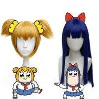 Takerlama Poputepipikku Anime Cosplay Wig Headwear Pop Team Epic Popuko Cosplay Synthetic Hair Pipimi Wig Headwear