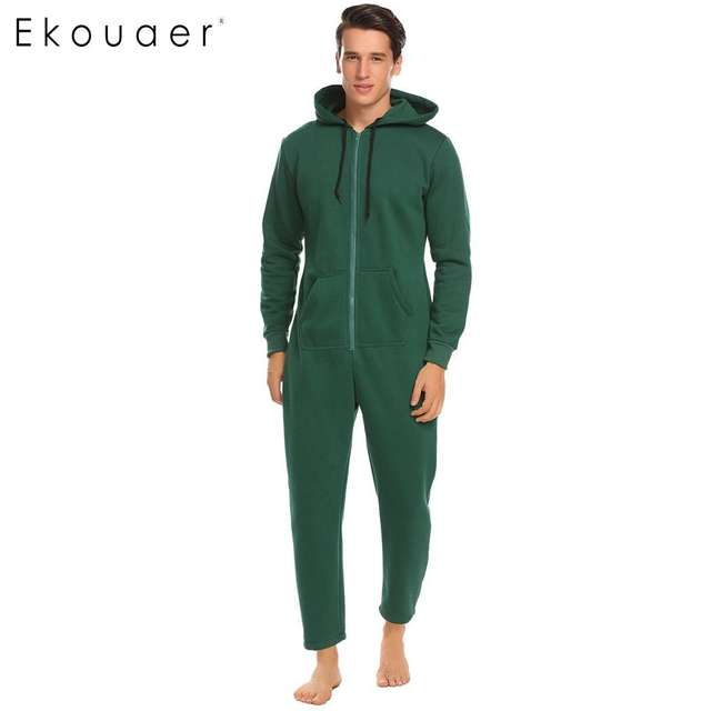 Ekouaer Men Sleepwear One Piece Pajamas Set Long Sleeve Hooded  Zip Front Fleece Lined Pajama Set Adult  Onesies Home Sleepwear