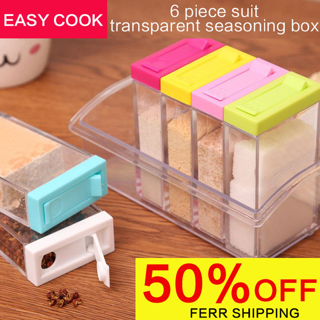 2017 acrylic transparent Spice Jar Colorful Lid Seasoning Box 6pcs/set Kitchen Tools Salt Condiment Cruet Storage box Containers