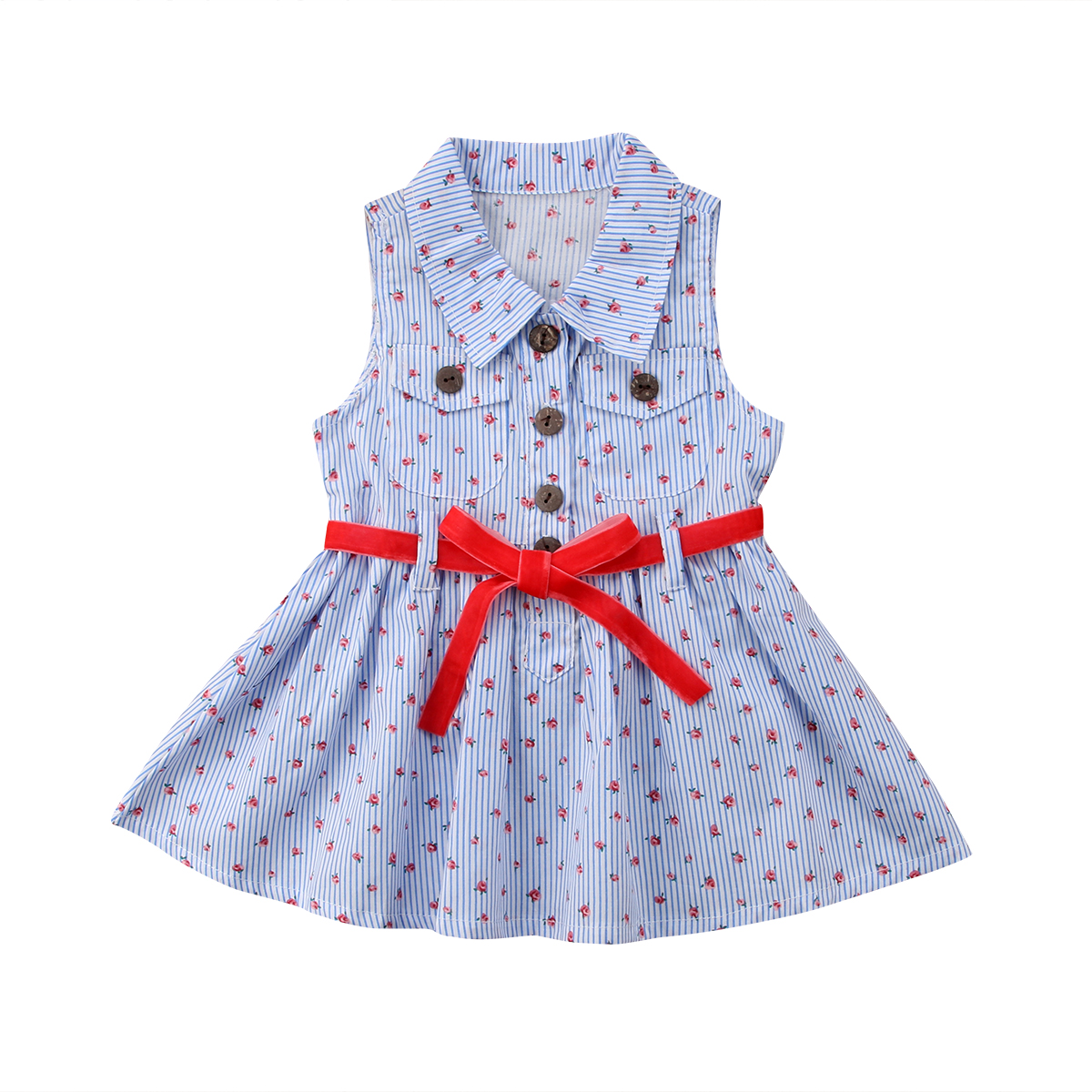 Pudcoco 1-6Y Kid Baby Girl Kid Floral Striped Dress Princess Girl DressPageant Party  Dresses for Girls Child Clothes