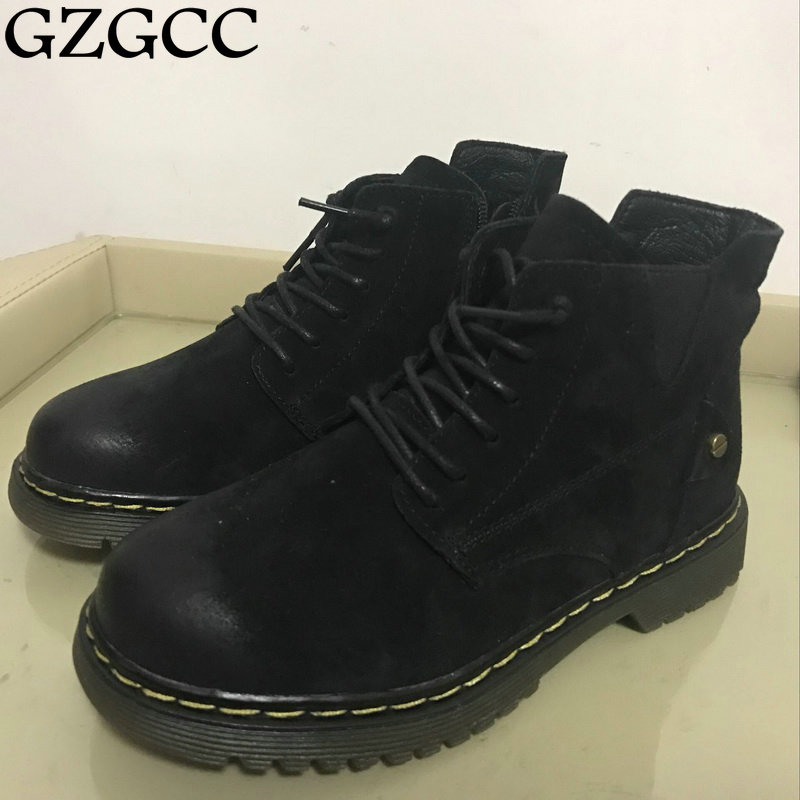 GZGCC Women Boots Lace up Solid Casual Ankle Boots Martin Round Toe Women Shoes winter snow