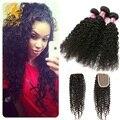 Fechamento peruano Kinky Curly Cabelo Weave 4 Bundles Peruano Virgem Cabelo Humano Encaracolado Afro Crespo Cabelo Pacote Lida Com Fechamento