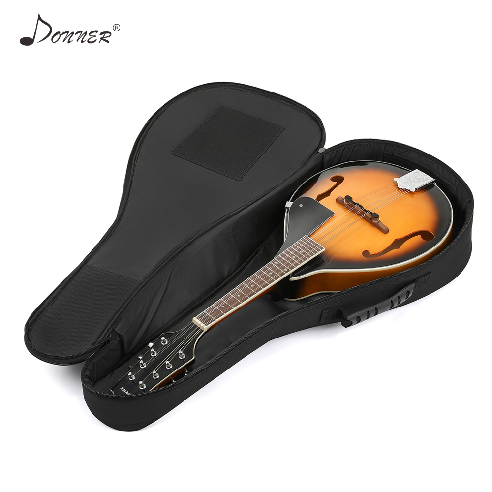 Donner 28 Inch Premium Mandolin Bag Gig Backpack Case Cover 2 Pockets Water-Resistant Nonwovens Interior Thicken Sponge Pad Soft