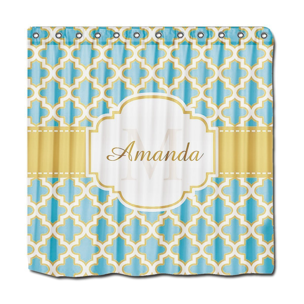 Blue moroccan curtains - Memory Home Personalized Shower Curtains Moroccan Lattice Monogram Elegant Gold Teal Blue Polyester Fabric Shower Curtain