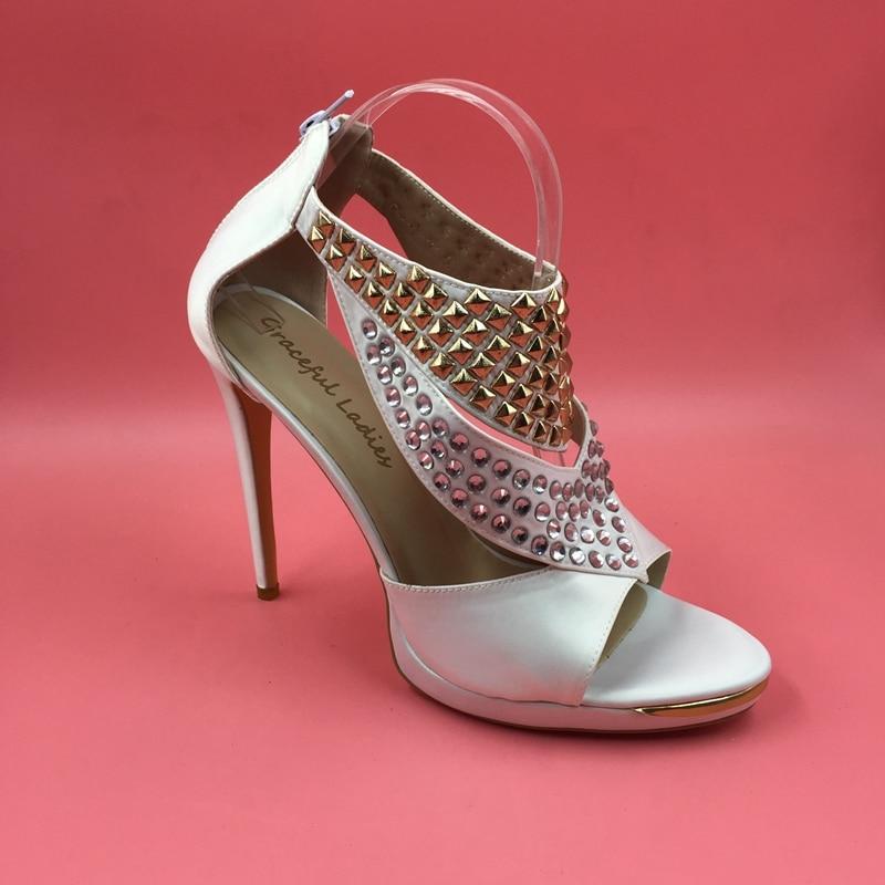 White Sandal With Rhinestones Women Sandal T-strap Open Toe Crystals High Heels Stilettos Ladies Shoe Shoes Woman Sandals