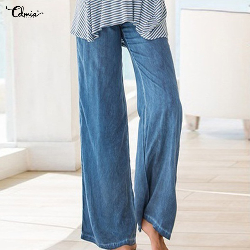 Celmia Women High Waist Pants Plus Size Long Trouser Female Casual Pleated  Denim Blue Wide Leg 5990aa416152