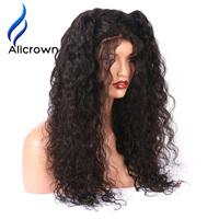 Alicrown 180 Density Remy Brazilian Human Hair Full Lace Wigs Pre Plucked Curly Human Hair Wigs