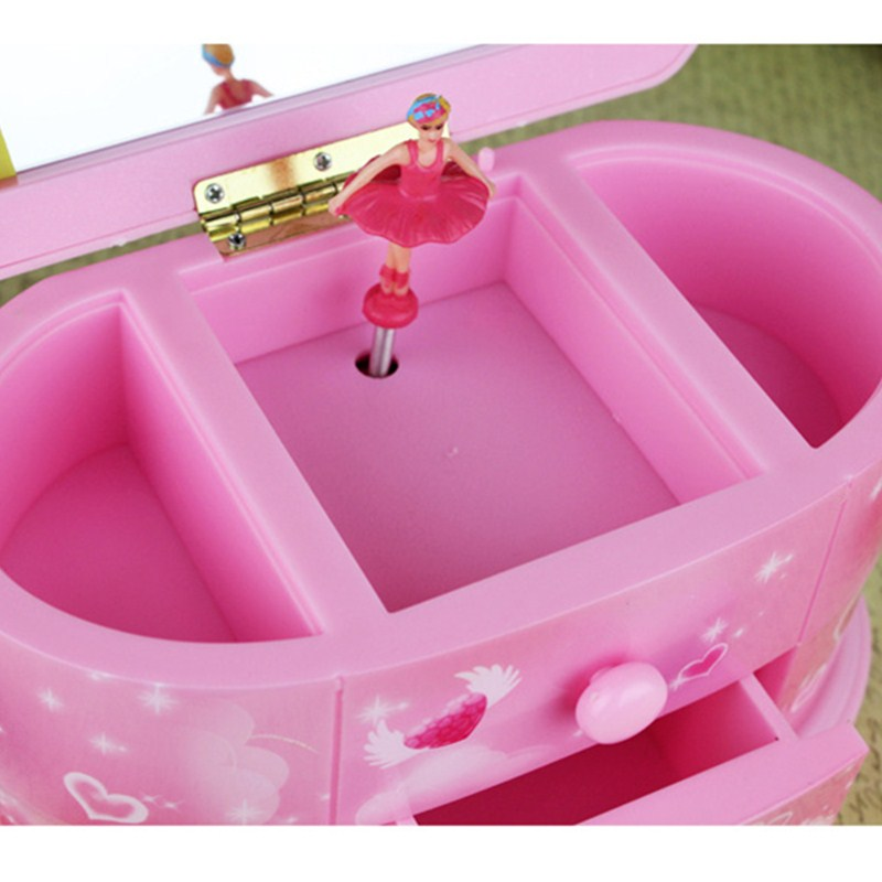 Music Box Makeup Jewel Case Carry Rotation Dance Ballet Girl Craftwork Home Desktop Decorations Birthday Gift L1810