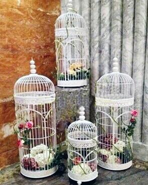 Fashion Iron Home Decoration Wrought Iron Bird Cage Decoration Flower Decoration 4 Pieces
