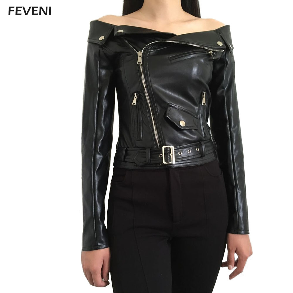 Women Sexy Strapless Neck PU Leather Jackets Short Zipper Motorcycle Off Shoulder Leather Jacket Outerwear Crop