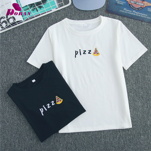 64f00d6109 S-3XL Big Size Pizza Couple T Shirts For Lovers 2018 Casual Matching Couple  Clothes