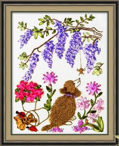 Dog Flower Silk Ribbon Embroidery Kit Animal Bird Handcraft Cross