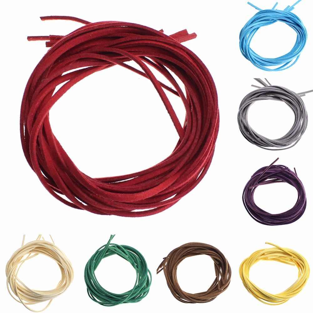 Venda quente cor misturada 3mm plana camurça do falso coreano veludo couro corda corda corda corda laço descobertas #254411