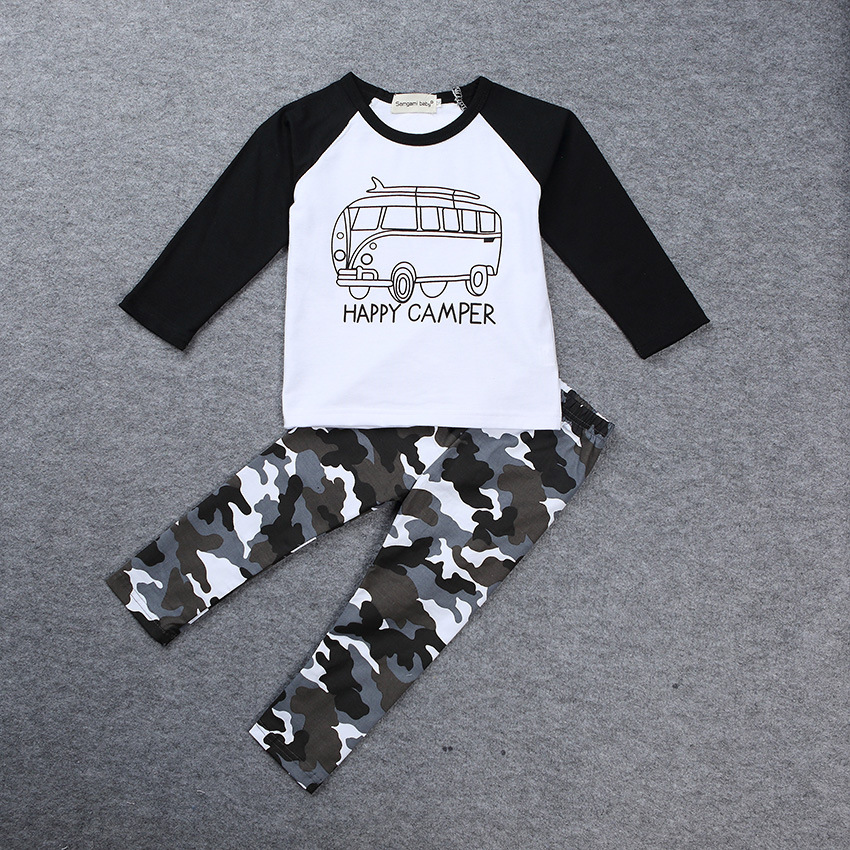Autumn Newborn Baby Boy Clothes Happy Camper Print T-Shirt Camouflage Pants Outfit Set Winter Outerwear Toddler Children Costume 9 12m baby boy set monkey print clothes for children newborn baby boy clothing corduroy 2017 autumn clothes 2pcs boy outwears