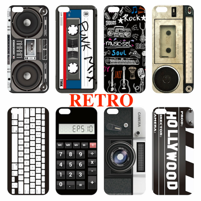For iPhone 4 5 6 7 S Plus SE Retro Camera Cassette Tapes Player Rock Music