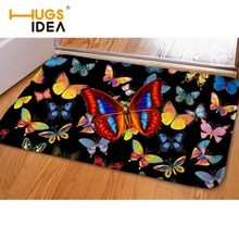 HUGSIDEA Beautiful Butterfly Printing Door Mat Floor Carpet Flannel Entrance 40x59 Porch Room Rug Carpet for Hallway Non-slip