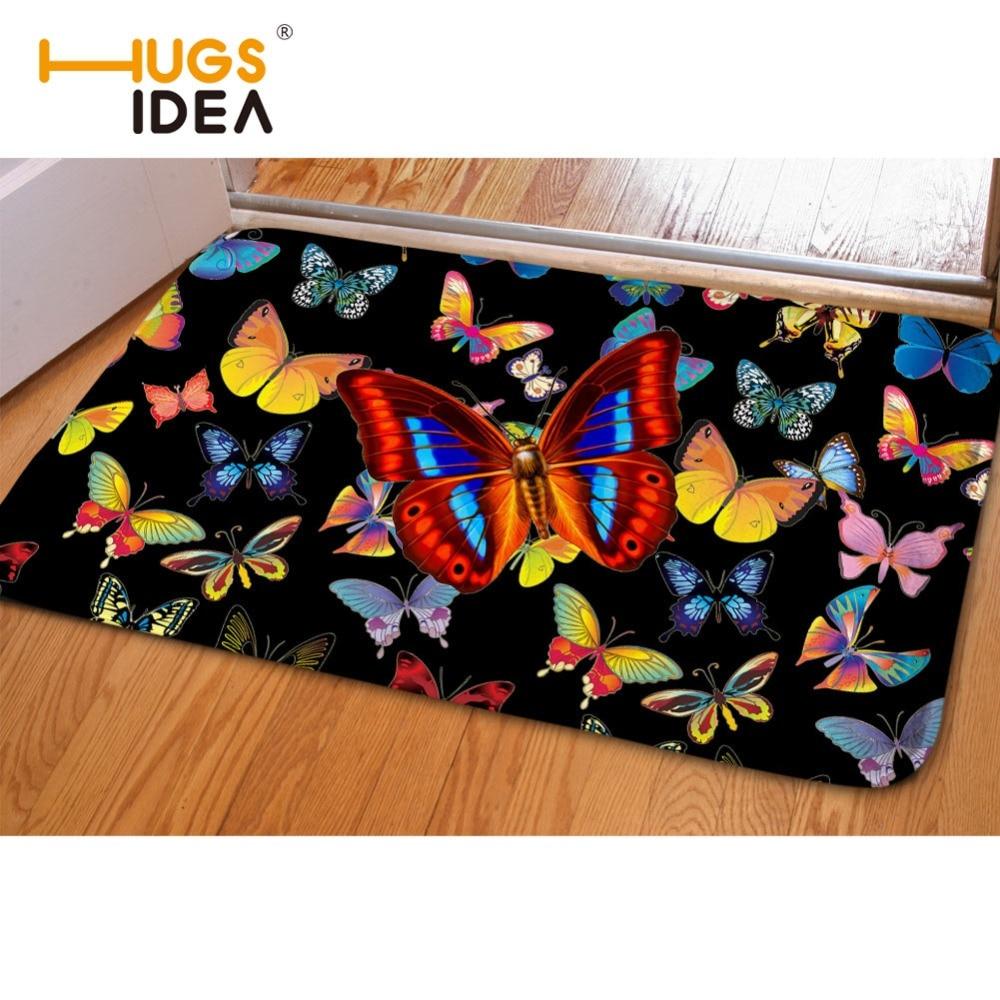 HUGSIDEA Mooie Vlinder Afdrukken Deur Mat Vloer Tapijt Flanel Entree - Thuis textiel
