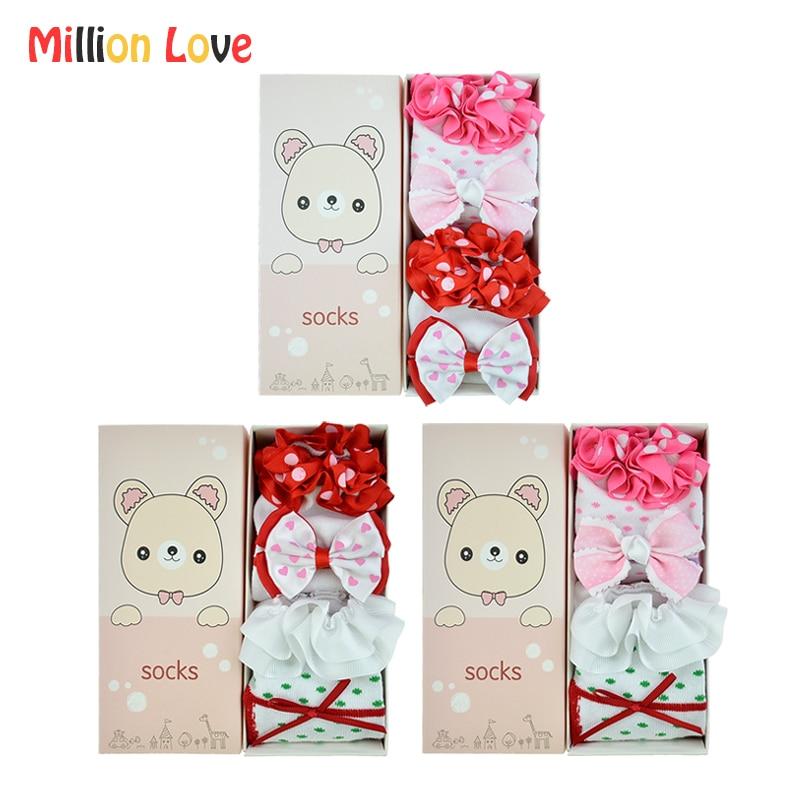 2 Pairs/lot Gift set Baby girl Princess Cotton socks 0-12 M newborn infant girls Lace bowknot baby stuff bebes pink red socks