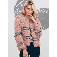 ZADORIN 2019 Winter Boho Faux Lambs Wool Fringe Jacket Women Coat Plus Size Short Pink White Fuzzy Jacket Vintage Warm Outerwear